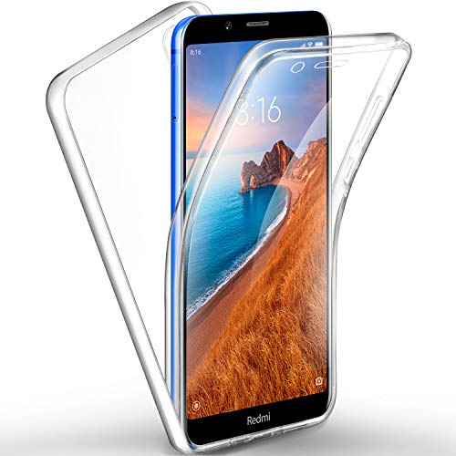 AROYI Coque Xiaomi Redmi 7A, Xiaomi Redmi 7A Transparent Housse Silicone TPU Gel et PC Rigide 360 Degres Protection Anti Choc Full Body Etui Case pour Xiaomi Redmi 7A