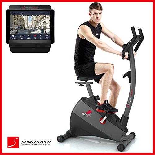 Sportstech ergomètre EX500 avec contrôle de smartphone + Google Street View, d'inertie 12KG, compatible ceinture d'impulsion - fitness vélo domicile entraîneur avec faible bruit système d'entraînement