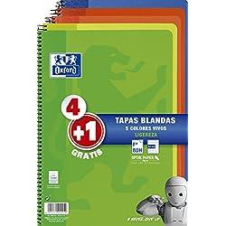 Oxford - Pack de 5 cuadernos (tapa blanda, 80 hojas, cuadrícula 4x4 con margen, colores surtidos vivos)