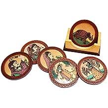 Angira Handicrafts Wooden Tea Coasters Set, 6-Piece, Brown (AHS3)