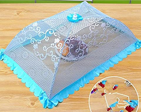 Wgwioo Art Retro Printing Lace Pop-up Mesh Screen Food Cover Tent Reusable and Collapsible Outdoor Rectangular Fruit Snacks Table Protector ,