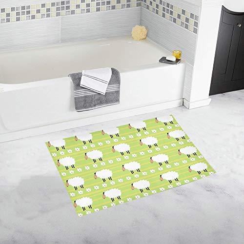 YXUAOQ Weiße Schafe Schwarze Beine auf benutzerdefinierte rutschfeste Badematte Teppich Bad Fußmatte Boden Teppich für Badezimmer 20 x 32 Zoll