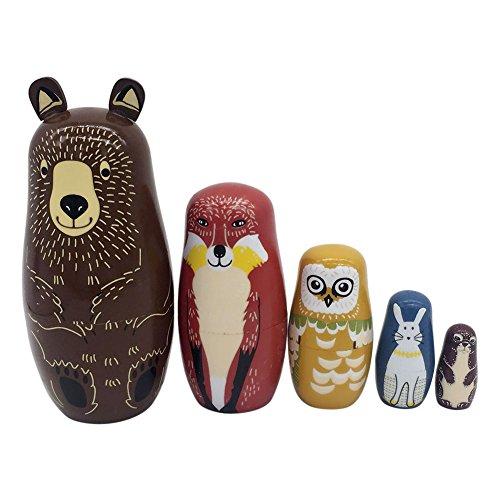 Wildlead 5 Schichten Verschachtelung Puppen Holz Panda Pinguin Bär Mädchen Delphin handbemalte Russische Puppe Matroschka Spielzeug Wohnkultur Kind Geschenk