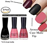 #8: Aroma Care Velvet Matte Nail Polish Black, Peach and Nude Colors by Aroma Care, 14.9 ml per bottle