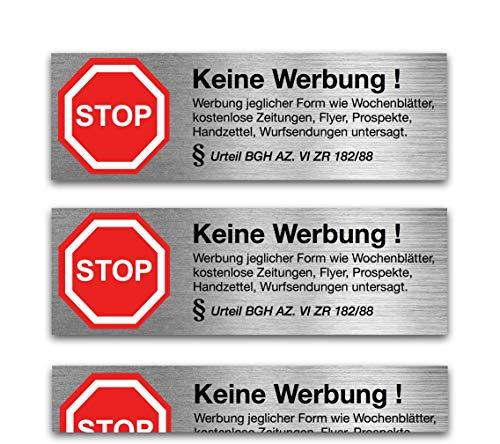 6x Aufkleber Schild Sticker keine Werbung mit § BGH Beschluss kostenlose Zeitungen, Zeitung, Flyer, Reklame wetterfest - Werbung nein Danke für Briefkasten