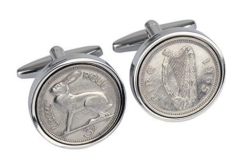 50th Birthday -1965 irische Manschettenknöpfe Münze 1965 drei Pennies Manschettenknöpfe-aus Irland
