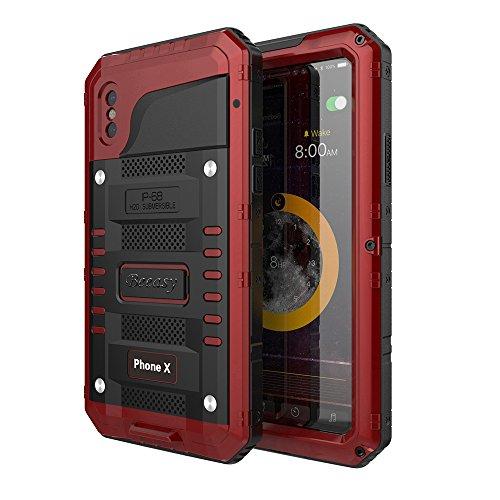 Beeasy Outdoor Hülle Kompatibel mit iPhone X Wasserdicht Stoßfest Militärstandard Schutzhülle mit Eingebautem Displayschutz Robust Metall Schutz vor Stürzen Stößen Panzer Handyhülle Case Rot