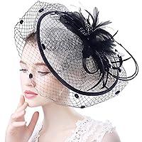AnKoee Black White Big Fascinator Flower Mesh Veil Feather Vintage Hair Clip Hats Wedding Cocktail Tea Party Headband (Black+White)