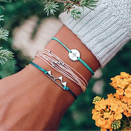 CTRCHUJIAN Feng 3 Teile/Satz Boho Neue Handgemachte Layered String Seil Armband Dreieck Runde Perlen Armband Armreifen Set Indischen Schmuck (Perlen Indisches Schmuck)