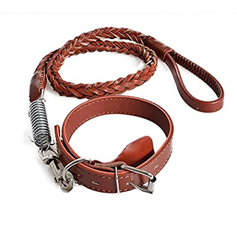OOFWY Les grandes et moyennes - chien de taille Pet Leash Collar + Traction Rope , red brown