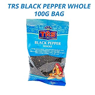 TRS Whole Black Pepper | Finest Black Peppercorns | Perfect for Indian & Chinese Cooking | Can Be Used for Pickling | World's Most Popular & Essential Spice | Great for Pepper Grinders | 100g Bag