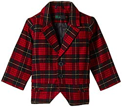 United Colors of Benetton Girls Casual Jacket (15A2ABCH12SRI901_Black and Red Check_XX)
