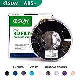 eSUN 1,75 mm ABS PRO (ABS+) 3D-Drucker Filament 1 kg Spule (2,2 lbs), Maßgenauigkeit +/- 0,05 mm für die meisten 3D-Drucker, 3D-Druckstifte Filament Nachfüller, Schwarz, 1