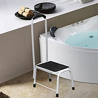 Non Slip Safety Step Stool Kitchen Bath Shower Mobility Aid Handrail Platform Support by Crystals®