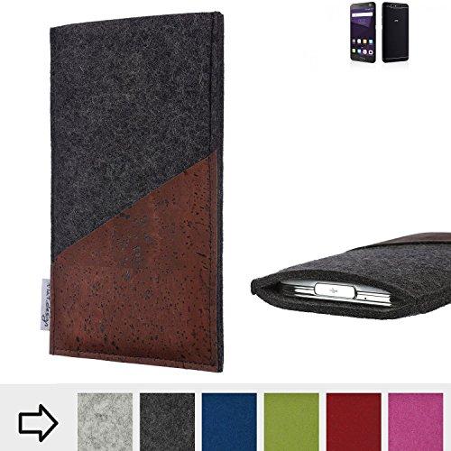 flat.design Handy Hülle Evora für ZTE Blade V8 64 GB handgefertigte Handytasche Kork Filz Tasche Case fair dunkelgrau