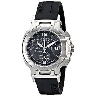 Reloj cronógrafo mujer Tissot T0482171705700, suizo, de 37mm, banda de goma negra, caja de acero