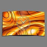 Astratto cerchi Arancione Designer Orologio da parete moderno da parete in acciaio inox orologi Design 28 cm x 48 cm silenziosa DIXTIME 3D-0245