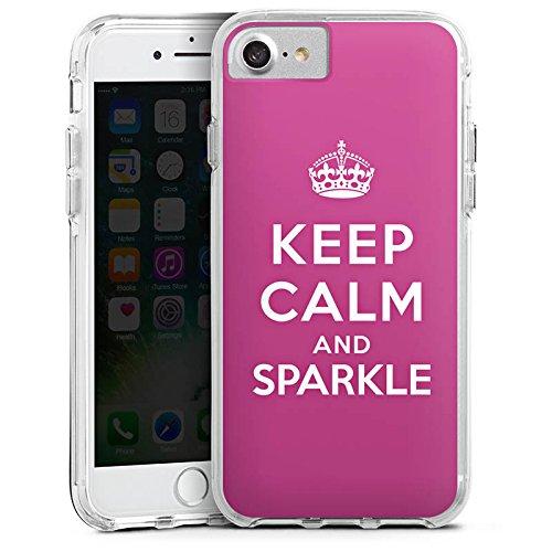 Apple iPhone 6s Plus Bumper Hülle Bumper Case Glitzer Hülle Keep Calm and Sparkle Girl Sayings Bumper Case transparent