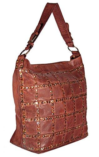 Niazza - Leder Schultertasche Hobobag Used-Look mit Nieten WaffelOptik MEDITERRAN URBAN BAG Damen Handtaschen Shopper Henkeltaschen Beuteltasche 43x34x14 cm (B x H x T), Farbe:grün tan