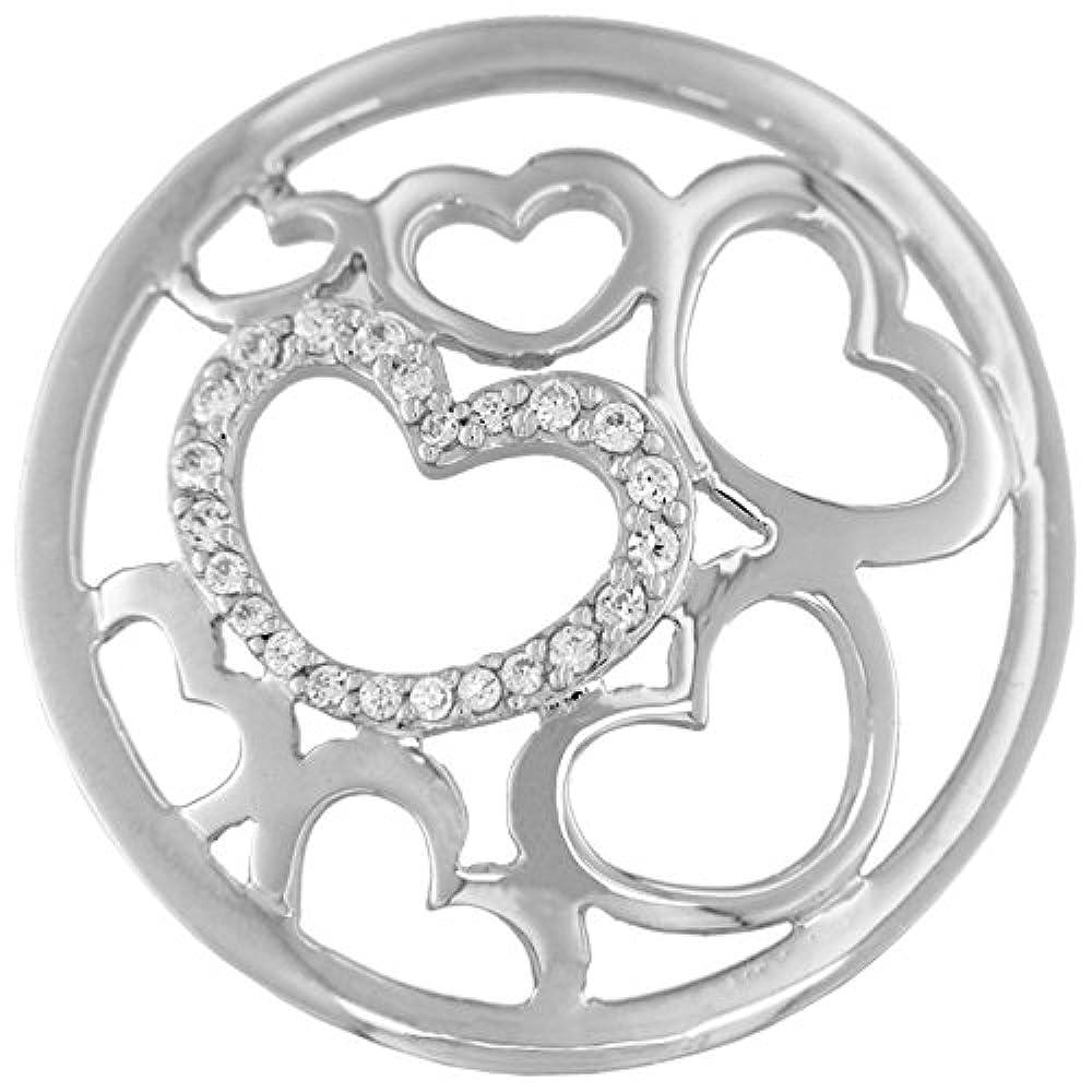 MY iMenso Herzen Fantasie Insignie Silber mit Zirkonia 24 mm 24-0987