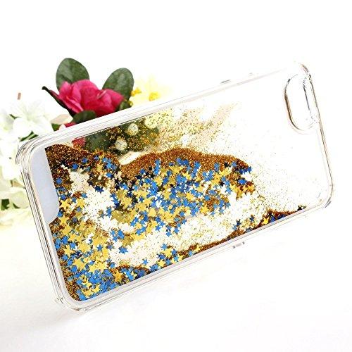 nnopbeclik iPhone se 55S Liquido per cellulare trasparente Custodia trasparente lucido 3d e glitter star stelle liquido con liquido Custodia Bumper Cover Case Custodia trasparente Crystal Case Custod Goldene