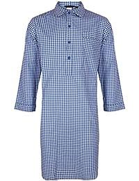 Chemise de nuit à carreaux bleus, 100% Coton - homme