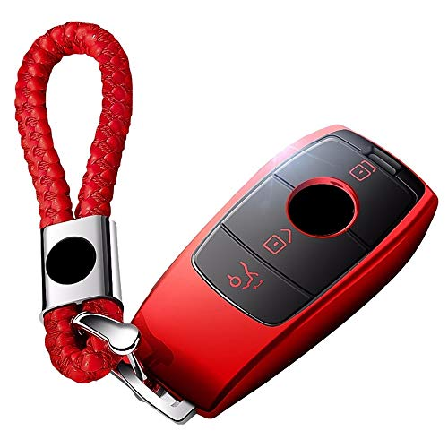 FELICIPP Mercedes Benz Llavero Cubierta de protección Completa Caja de Llavero con Llavero Compatible con el Control Remoto sin Llave Smart E Series S320L / E300l E200L / E320L