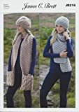 James Brett Amazon Super Chunky Knitting Pattern Ladies Cable Knit & Textured Hats & Scarves