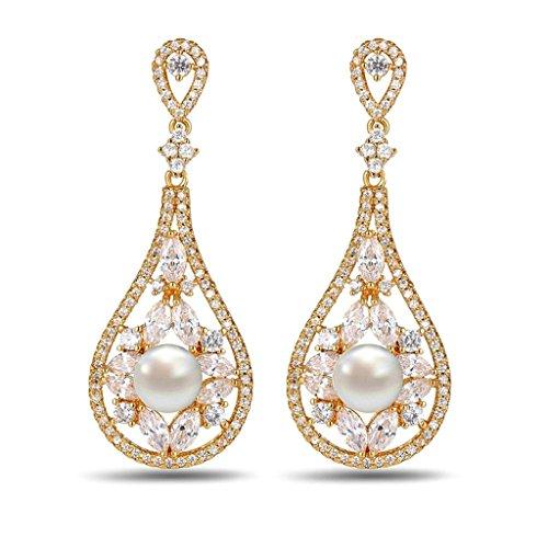 Bijoux Femme Boucles d'Oreilles Fantaisie Plaqué Or Blanc Pearl Crystal Chinese Cute Lute Or Blanc Pendants d'Oreilles -AnaZoz