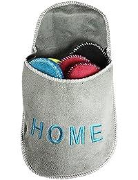 COM de Four® Pantuflas para invitados Juego de 5piezas, zapatillas casa para invitados, tamaño: 36–45, Gris, redondo