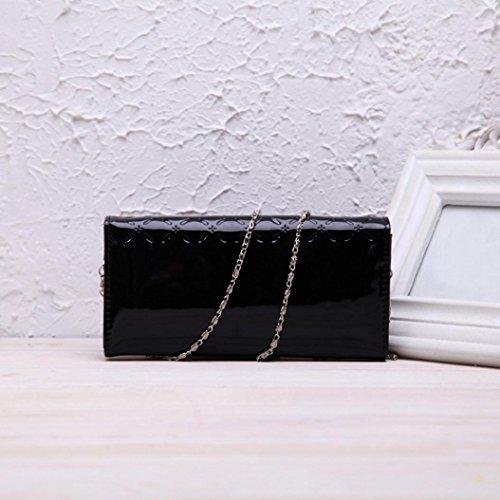 Koly_Portafoglio in pelle da donna frizione delle donne borsa lunga Nero