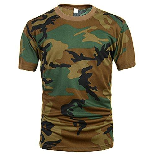 ZhiYuanAN Hombre Camuflaje Al Aire Libre Camiseta De Secado Rápido De Manga Corta Militares Camiseta Cuello Redondo Transpirable Bosque Desierto ACU CP Camo T Shirt 2XL