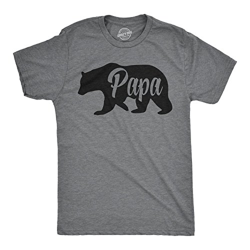 Crazy Dog Tshirts - Mens Papa Bear Funny Shirts for Dads Gift Idea Novelty Tees Family T Shirt (Dark Heather Grey) - L - Herren - L (Adult-dark-grey-t-shirt)