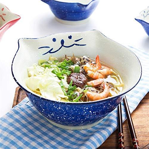 Keramik-Schüssel im japanischen Stil, für Zuhause, süße Schale, für Kinder, Obst, Salat, Suppe, Ramen, Pasta, Dessert, Snackschüssel (Größe: 11,4 cm, blau) Catering, Küche, Schüsseln 8 inches blue