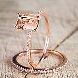 CTGVH Ringe, 1 Set Roségold Diamant Kristall Ehering Schmuck Mädchen Frauen Rose Gold-l 1/2