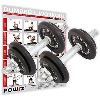 POWRX - Mancuernas Hierro Fundido 20 kg Set (2 x 10 kg) + PDF ...
