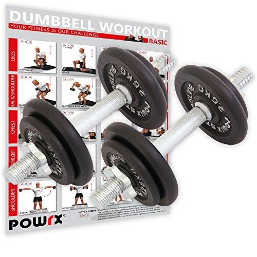 Powrx manubri pesi ghisa 20 kg set (2 x 10 kg) + pdf workout (nero)