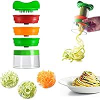Spiralschneider Premium 3 Klingen Gemüse Gemüsehobel, mit dem man endlos Spaghetti Nudeln fertigen kann - enthält die Bürste für die Reinigung - Zucchini Spargelschäler, Gurkenschneider, Gurkenschäler, Möhrenreibe Möhrenschäler