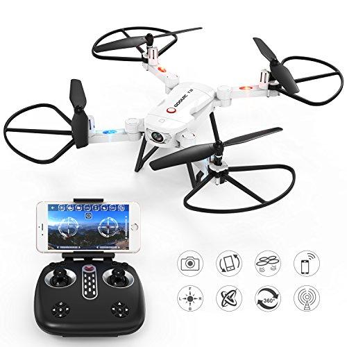 RC Drone con cámara-GoolRC T32 Wifi 720P HD Cámara 2.4G 4CH 6-Axis Gyro plegable RC Drone con función Hold de altura Selfie Drone