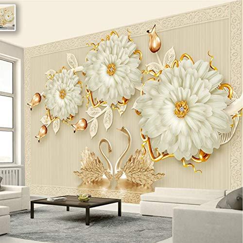 Kuamai Custom 3D Murals 3D Joyería De Lujo Flor Cisne Romántico Tv Wall Wall Papers Decoración Para El Hogar Wallpaper Para Dormitorio Wall Paper-400X280cm