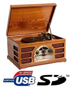 Retro Giradischi in legno 3 velocità AM / FM Radio CD con USB, SD Interfaccia per la riproduzione MP3 con altoparlanti integrati - (Faggio) da Zyon