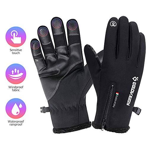 Cosyinsofa guanti moto impermeabili touchscreen guanti da escursionismo da campeggio per ciclismo, guanti da trekking termici antiscivolo per uomo e donna (s:7.0-7.5in)