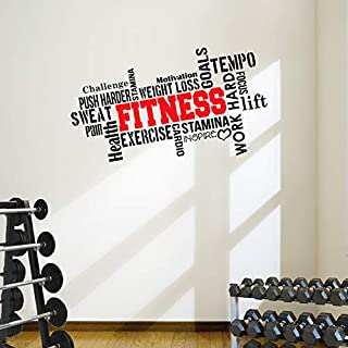 DesignDivil PRO FITNESS Motivational Wall Decal Gym Quote 6 colour options (Black/Red)
