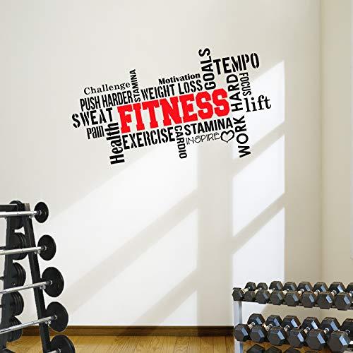 Pro Fitness Wand-Aufkleber mit motivierendem Zitat (in englischer Sprache), ideal fürs Fitnessstudio, 6Farb-Optionen, Vinyl, schwarz / rot, 1mtr wide by 57cm high
