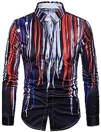 BUSIM Men's Long Sleeve Shirt 3D Classic Stripe Print Casual Fashion Slim Button T-Shirt Trend Shirt Clearance...