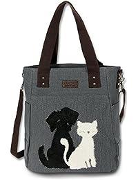 17e2bdf7ff87c Manoro Shopper Henkeltasche grau Canvas Hobo Bag Schultertasche Hund Katze  OTK221K