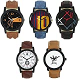 #4: REDOX® Multicolor Dial And Leather Belt Stylist New Design Wrist Analogue Watch Combo -For Men's And Boy's (Pack of 5)