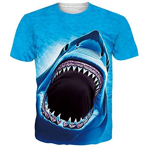 Funnycokid Damen T-Shirt 3D gedruckt über Muster Shark Summer Club Paare Tees -