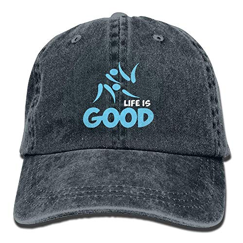 Baseball Kostüm Vintage - Hipiyoled Life is Good Judo Vintage Washed Dyed Cotton Twill Low Profile Adjustable Baseball Cap Black ABCDE01259