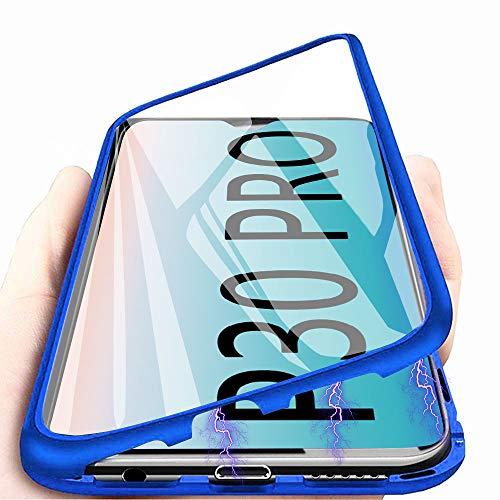 Huawei P30 Pro Hülle Magnetic Adsorption Handyhülle für Huawei P30 Pro, E-Lush Hülle Ultra Dünn Durchsichtig Handy Hülle 360 Grad Komplettschutz Metall Bumper mit Gehärtetes Glas, Blau -